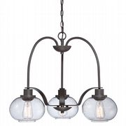 Trilogy 3 Light Fitting in Old Bronze with Clear Seedy Glass Shades - QUOIZEL QZ/TRILOGY3